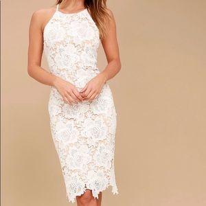White Lace Bodicon Midi Dress